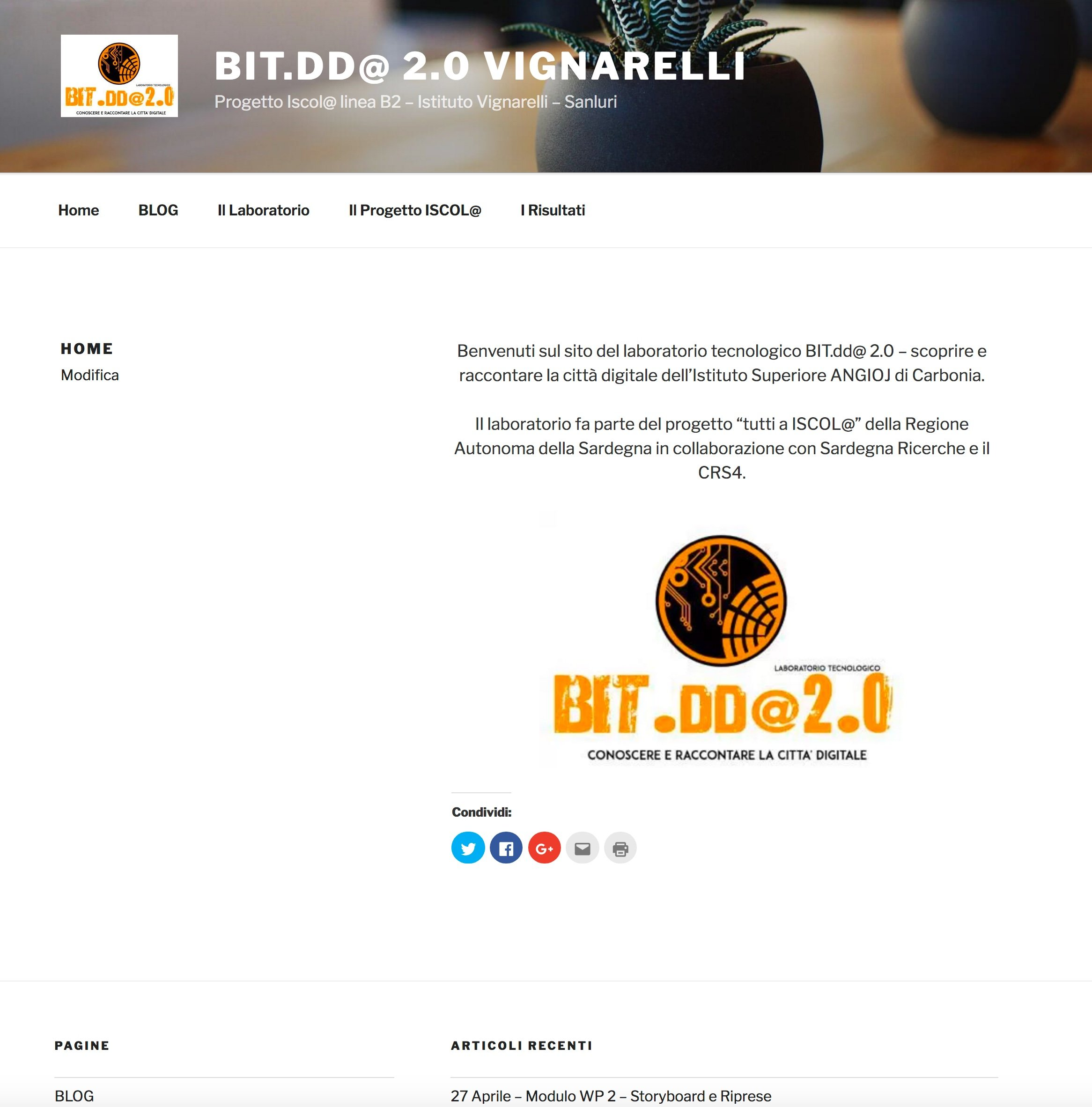 On line il sito del laboratorio iscol bitdd 2 0 presso for Istituto superiore